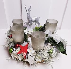 Adventskranz silberner Hirsch Weihnachten