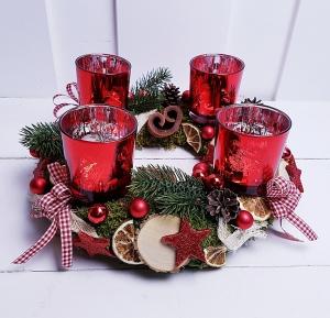 Adventskranz klassisch Weihnachten Weihnachtskranz rot