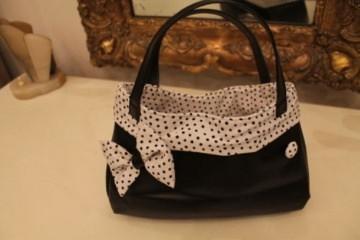 ★ Rockabilly Handtasche weiß schwarz Punkte Dots ★