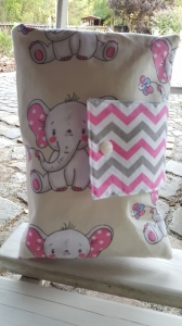 ♥ XXL Windeltasche ♥ Elefant zickzack Streifen rosa grau Wunschname