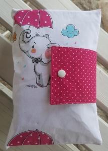♥ XXL Windeltasche ♥ Elefant mit Schirm Punkte pink Wunschname