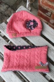 ♥ Set ♥ Mütze + Loop Strick rot rosa grau Punkte Wunschgröße