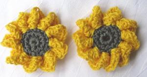 Sonnenblumen Blüte ☀ handgekäkelt aus Baumwolle als Tischdekoration oder als Gastgeschenk kaufen