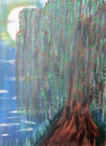 Aquarellbild mit dem Titel Trauerweide handgemalt mit Aquarellfarben auf Aquarellpapier direkt von der Künstlerin das Original kaufen