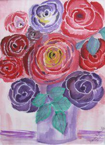 Aquarell Bild mit dem Titel Bunter Blumenstrauß handgemalt mit Aquarellfarben auf Aquarellpapier direkt von der Künstlerin das Original kaufen