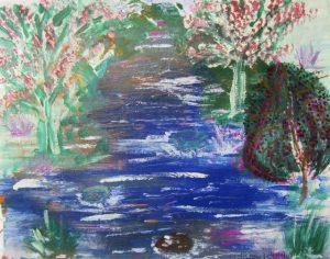 Aquarellbild Flusslandschaft handgemalt mit Aquarellfarben und Acrylfarben auf Pappe im Original kaufen