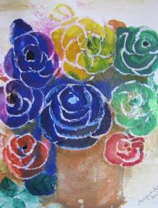 Handgemaltes Acrylbild mit dem Titel Bunter Blumenstrauß gemalt mit Acrylfarben und Aquarellfarben auf Pappe direkt von der Künstlerin kaufen - Handarbeit kaufen