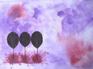 Aquarellbild Collage mit dem Titel Baumgruppe handgemalt mit Aquarellfarben und echten Blättern auf Aquarellpapier direkt von der Künstlerin das Original kaufen