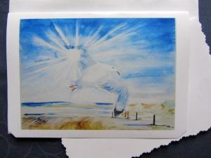Grußkarte Faltkarte Möwe handgemalt fotografiert und gedruckt auf Fotopapier kaufen