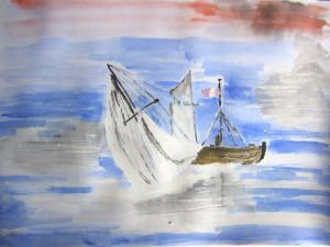 Aquarell Bild Segelboot handgemalt mit Aquarellfarben auf Aquarellpapier direkt von der Künstlerin das Original kaufen