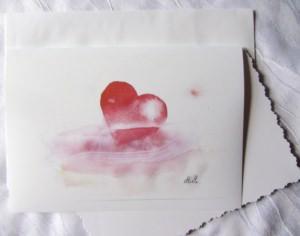 Grußkarte Faltkarte Herz in Not handgemalt fotografiert und gedruckt auf Fotopapier kaufen