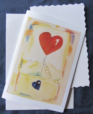 Grußkarte Faltkarte Herzeroberung handgemalt fotofrafiert und gedruckt auf Fotopapier kaufen