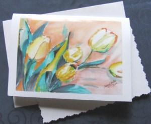 Grußkarte Faltkarte Gelbe Tulpen handgemalt fotografiert und gedruckt auf Fotopapier kaufen