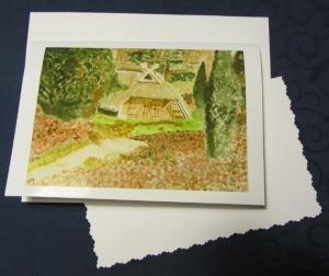 Grußkarte Faltkarte Schafstall in Bispingen handgemalt fotografiert und gedruckt auf Fotopapier kaufen