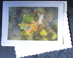 Beileidskarte Ahornblatt auf Wasser fotografiert und gedruckt auf Fotopapier mit dem Schriftzug In stillen Gedanken