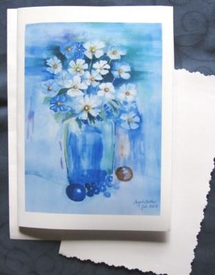 Grußkarte ☀ Faltkarte Blumenstrauß handgemalt fotografiert und gedruckt auf Fotopapier kaufen