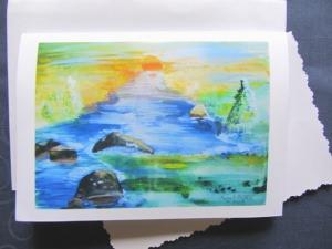 Grußkarte Faltkarte Sonnenuntergang am Fluss handgemalt fotografiert und gedruckt auf Fotopapier kaufen