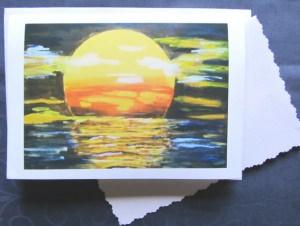 Grußkarte ☀ Faltkarte Sonnenuntergang handgemalt fotografiert und gedruckt auf Fotopapier kaufen