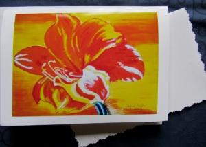 Grußkarte ☀ Faltkarte Amaryllis handgemalt fotografiert und gedruckt auf Fotopapier kaufen