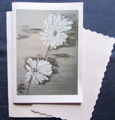 Grußkarte ☀ Faltkarte Margeriten-Duo handgemalt fotografiert und gedruckt auf Fotopapier kaufen