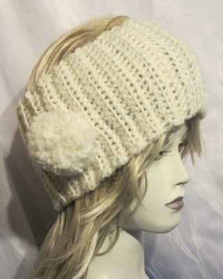 Stirnband handgehäkelt aus Wolle in Creme kaufen