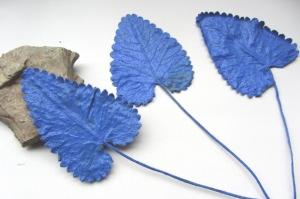 Pflanzenblätter einer Ziestpflanze beidseitig handgefärbt in Blau bestellen