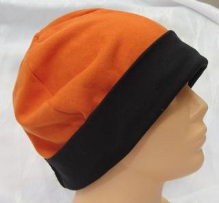 Mütze zugeschnitten und genäht aus Baumwolljersey  in Orange und Schwarz kaufen