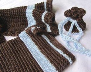 Gästehandtuch Set handgehäkelt aus Baumwolle in Braun und Blau kaufen