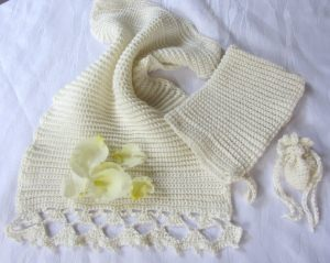 Gästehandtuch Set handgehäkelt aus Baumwolle in Creme in einem exklusiven Muster kaufen