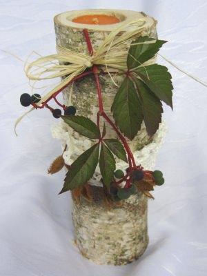 Kerzenständer ★ Birke ausgedacht handgemacht und dekoriert mit einer Manschette aus Baumwolle gehäkelt kaufen