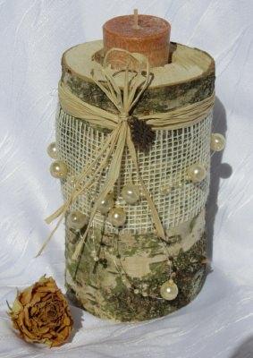 Kerzenständer ★ Birke ausgedacht handgemacht und dekoriert mit Juteband und Perlenband gehäkelt kaufen