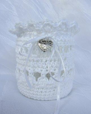 Windlicht ♡ mit Manschette handgehäkelt aus Baumwolle in Weiß kaufen