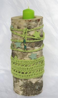 Kerzenständer ★ Dekorativer Birkenstamm handgemacht und dekoriert im Landhausstil kaufen