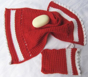 Gästehandtuch-Set 2-tlg. handgehäkelt aus Baumwolle Rot und Weiß kaufen