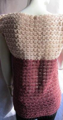 Shirt ♡ handgehäkelt aus Baumwolle in marsala und apricot kaufen