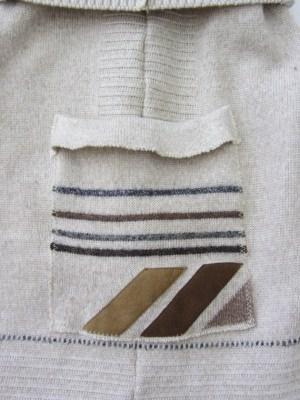 Beutel Shopper für den kleinen Einkauf handgenäht aus Strickstoff in Beige und Braun kaufen