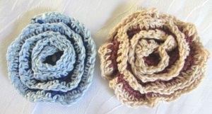 Blüte ☀ handgehäkelt aus Baumwolle zweifarbig als Tischdekoration oder als Geschenk bestellen