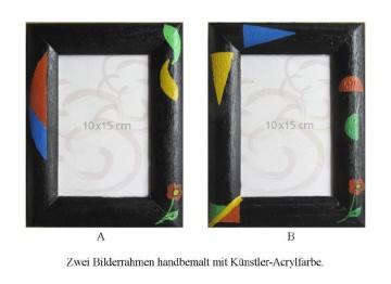 Bilderrahmen im Zweierset aus Holz handgefärbt in Schwarz und handbemalt direkt von der Künstlerin kaufen