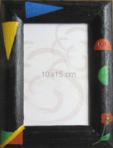 Bilderrahmen handgefertigt aus Holz handgefärbt in Schwarz und handbemalt kaufen