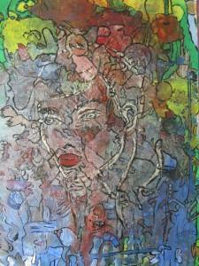 Acrylbild mit dem Titel Verirrt handgemalt im abstrakten Stil im Original kaufen