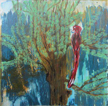 Acrylbild mit dem Titel Paradiesvogel handgemalt mit Acrylfarben auf Pappe direkt von der Künstlerin das Original kaufen