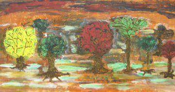 Acrylbild mit dem Titel Baumgruppe handgemalt mit Acrylfarben auf Pappe direkt von der Künstlerin das Original kaufen