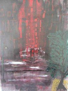 Acrylbild mit dem Titel Nacht Impression handgemalt mit Acrylfarben auf Acrylpapier im Original kaufen