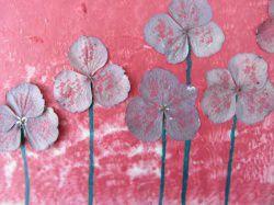 Acrylbild Collage mit echten Hortensienblüten handgemalt und gestaltet im Original kaufen