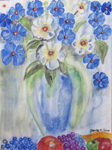 Handgemaltes Aquarellbild mit dem Titel Blauer Blumenstrauß gemalt mit Aquarellfarben auf Aquarellpapier direkt von der Künstlerin kaufen - Handarbeit kaufen