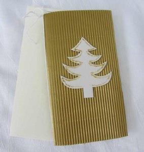 Faltkarte ☆ Klappkarte Weihnachtskarte mit Briefumschlag handgefertigt aus Wellpappe goldfarbig kaufen