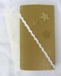 Faltkarte ☆ Klappkarte ☆ Weihnachtskarte mit Briefumschlag handgefertigt aus Wellpappe goldfarbig kaufen