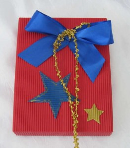 Geschenkschachtel ★ handgemacht aus Wellpappe in Rot und Blau kaufen