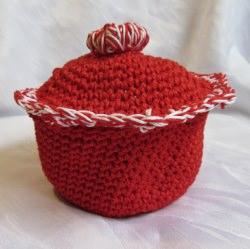 Eierkörbchen ♡ Eierwärmer handgehäkelt aus Baumwolle in Rot auch als Weihnachtsdeko kaufen