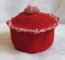 Eierkörbchen ♡ Eierwärmer handgehäkelt aus Baumwolle in Rot kaufen
